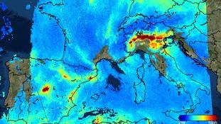 Sentinel-5P sees nitrogen dioxide over Europe