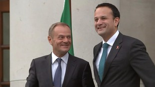 Donald Tusk and Irish Taoiseach Leo Varadkar greeted each other warmly.