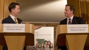 Deputy Prime Minister Nick Clegg and Prime Minister David Cameron at a Downing Street press conference to launch their Mid-Term Review