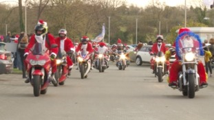 Over 800 bikers rode around Bristol wearing Santa Claus outfits.
