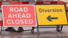Roadworks signs.