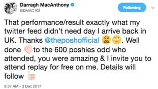 Darragh MacAnthony made the gesture on Twitter.