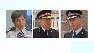 Met Commissioner, Cressida Dick; Ian Dyson, Commissioner, City of London Police; Paul Crowther, Chief Constable, British Transport Police
