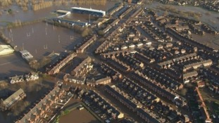Aerial photo of flooded homes in Carlisle