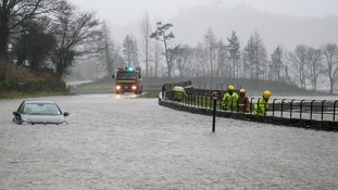 Flooding in Grasmere, Cumbria after 18 hours of heavy rain