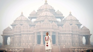 Mayor of London Sadiq Khan during a visit to Akshardham Temple in Delhi