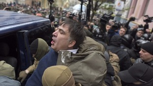 Crowd of supporters free former Georgian president Mikheil Saakashvili from attempted arrest in Ukraine