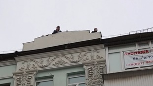 Mr Saakashvili climbed on the roof to alert supporters to his arrest.
