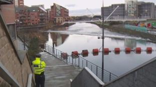 Police patrol River Aire in Leeds