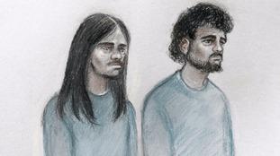 Court artist impression of Naa'imur Zakariyah Rahman (left) and Mohammed Aqib Imran