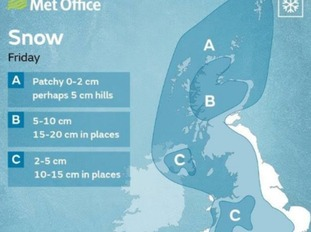 Met Office snow prediction for Friday. 2-10cm