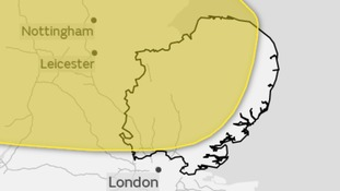 Area covered by the yellow weather warning for the risk of snow on Sunday.