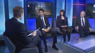 Paul Brand and guests (l-r): Rory Stewart MP (Con), Sunderland MP Bridget Phillipson (Lab) and Lord Beith (Lib Dem)