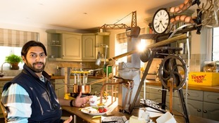 Phil Ashton, from Boston in Lincolnshire, built his 8ft by 5ft poached-egg making apparatus in 800 hours.
