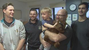 Giants deliver teddies to children in hospitals