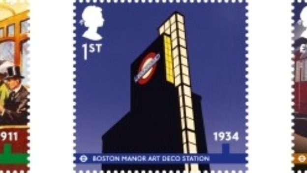 A stamp commemorating Boston Manor station in West london