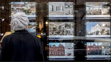 Woman looking for houses for sale in estate agents window