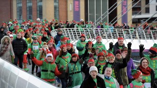 Charity elf walk hits Newcastle Gateshead Quayside