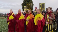Tibetan monks back anti-fracking campaign in village