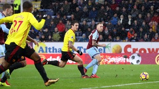 Burnley level on points with Arsenal after beating ten-man Watford at Turf Moor