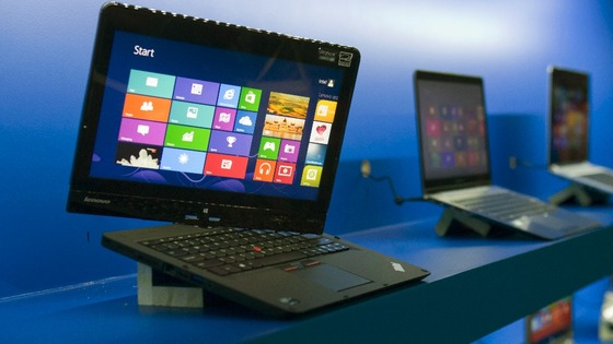 Convertible Lenovo Ultrabook displayed at an Intel news conference during the CES in Las Vegas