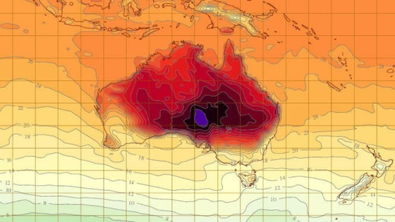 Heat soars on Australian Bureau of Metereology temperature map.