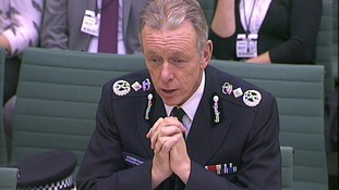 Sir Bernard Hogan-Howe, Metropolitan Police Commissioner, in front of the Home Affairs Select Committee earlier today