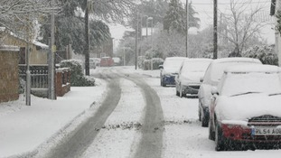 Heavy snow in Southminster, Essex on Sunday morning.