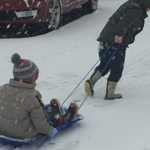 Time to dust off the sledges as the snow falls in Witchford, Cambridgeshire.