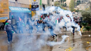Tear gas was used to disperse the protesters.