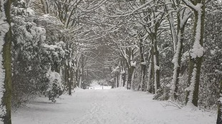 The snowy scene on Sunday in Daventry, Northamptonshire.