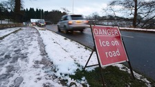 Icy conditions close roads across Cumbria