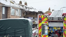 Three injured in Leicestershire as explosion leaves house in ruins