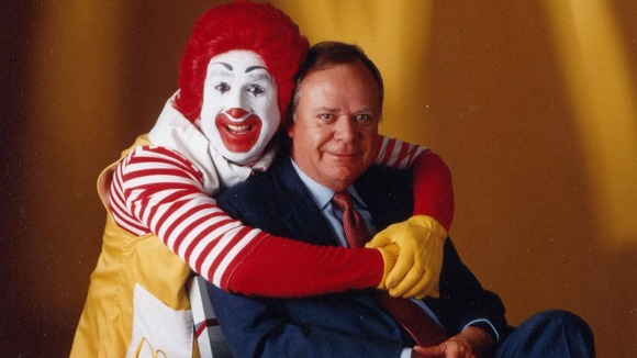 Former McDonald&#x27;s CEO Fred L Turner with Ronald McDonald