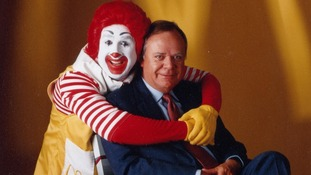 Former McDonald's CEO Fred L Turner with Ronald McDonald