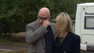 Corrie's father Martin McKeague sheds a tear at the landfill site back in July.