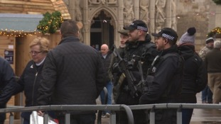 Police with semi automatic weapons were spotted at Exeter Christmas Market earlier today.