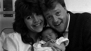Maggie Philbin and Keith Chegwin in 1988 after the birth of their daughter Rose.