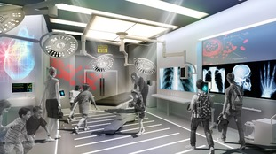 Artist's impression of a new modern-day operating theatre installation at the Thackray Medical Museum
