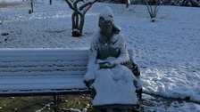 Woman 'frozen in snow' turns out to be statue
