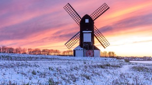 Sunset at Pitstone Windmill in the Chilterns on Monday 11 December 2017