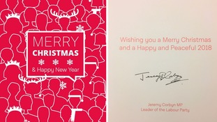 Jeremy Corbyn's Christmas card nods to his party's election manifesto cover.