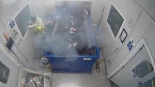 Lucky escape for worker after flare explodes in his hands