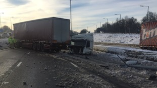 The lorry jackknifed