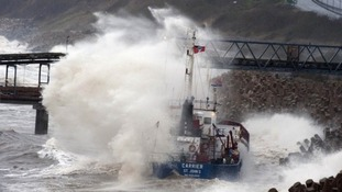 The stricken vessel aground near Colwyn Bay on Tuesday evening