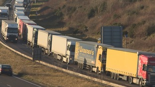 Lorries build up on the approach to Dover