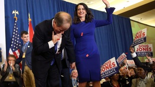Democrat Doug Jones celebrates his surprise victory in a historically red state.