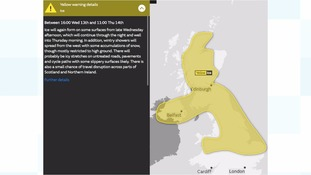 Yellow warning of ice across the UK