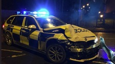 Police cars rammed after pursuit in Leeds