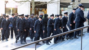 Firefighters are among those attending the service.